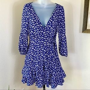 LIKELY NYC Dress Revolve Faux Wrap Blue Floral NEW